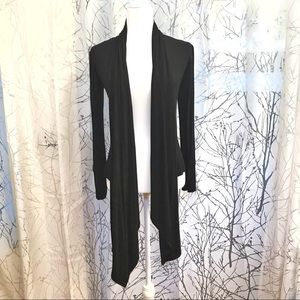 Black drape front cardigan sweater